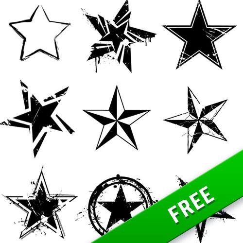9 Vector Grunge Stars